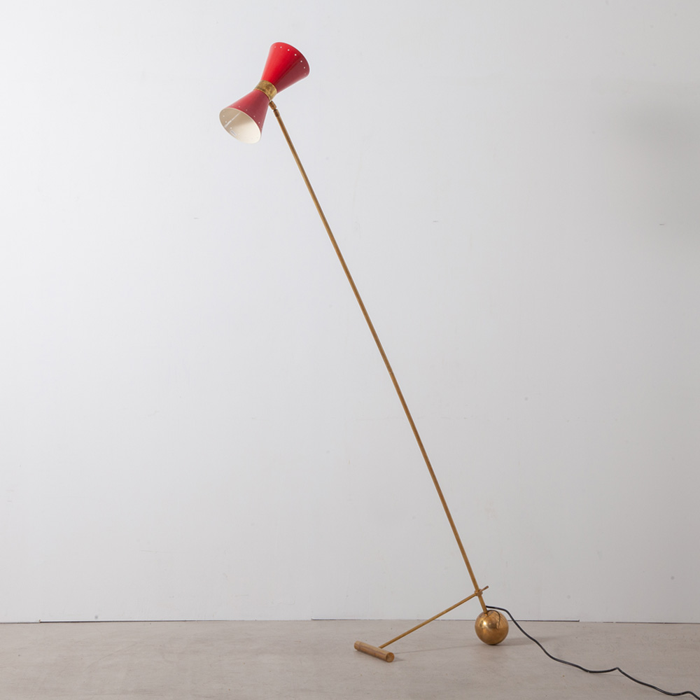 Mid-Century Modern Italian Floor Lamp by Stilnovo in Brass and Red
