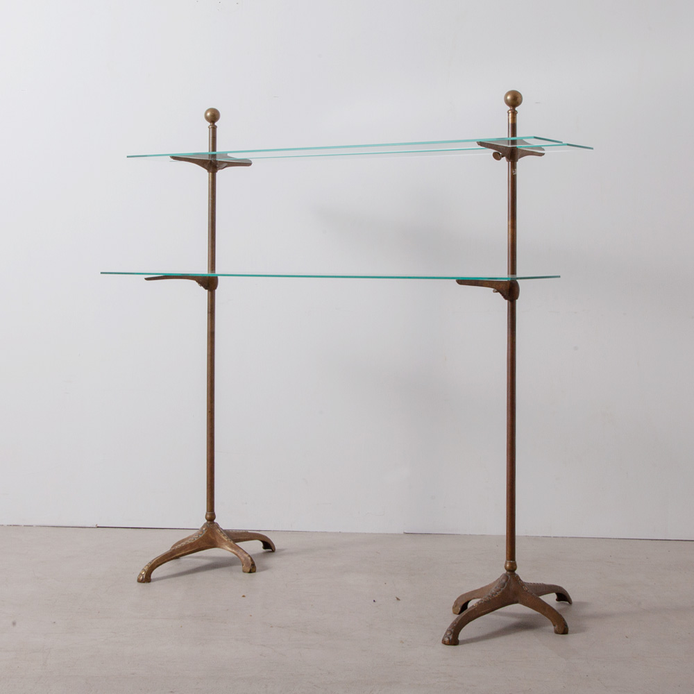 Shelves Display Rack in Brass and Glass