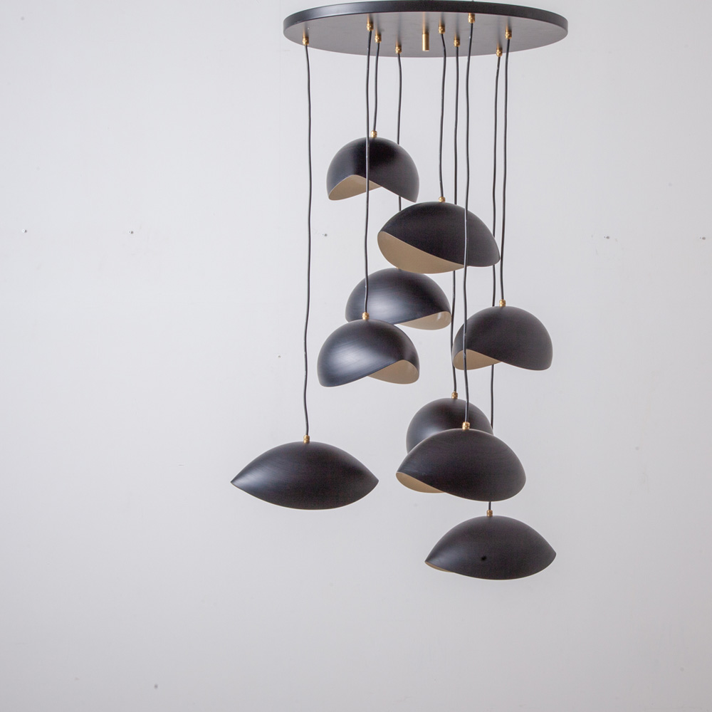 Pendant Light with 9 Wink Shade in Brass and Black