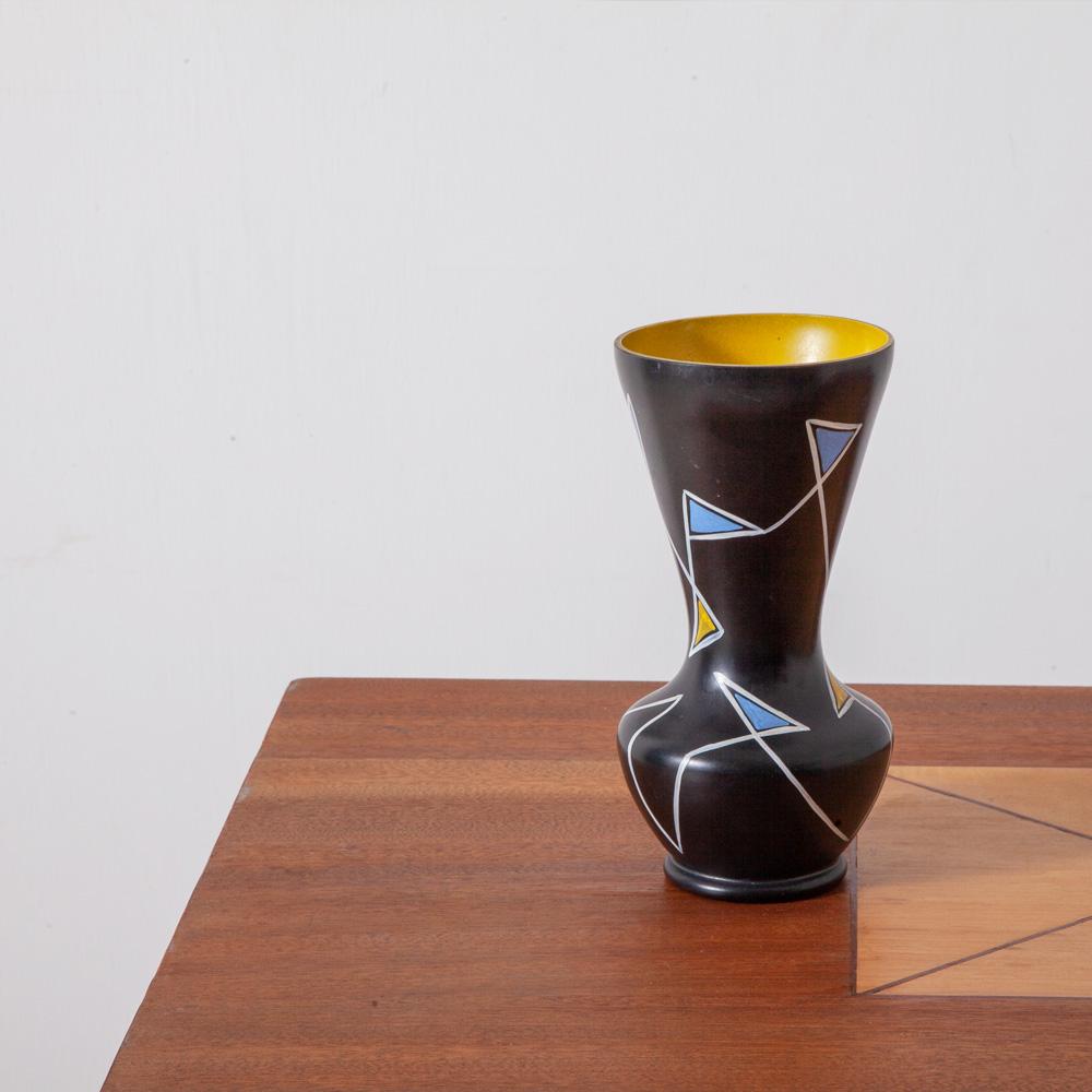 Vintage Flower Vase in Black and Geometric Motif
