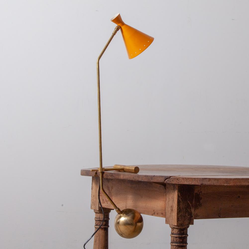 Mid-Century Modern Italian Adjustable Desk Lamp by Stilnovo in Brass and Orange