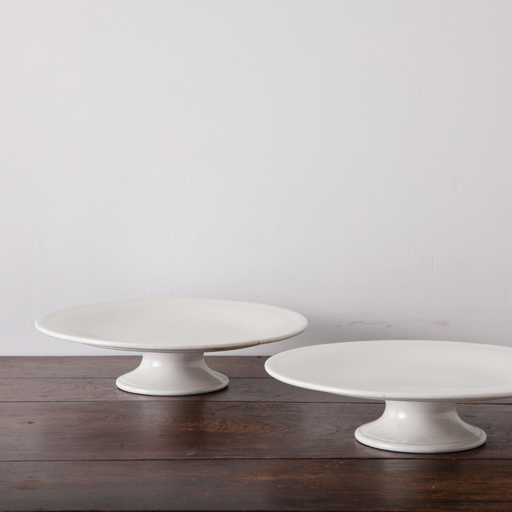 Antique Porcelain Cake Stand in White for BOCH