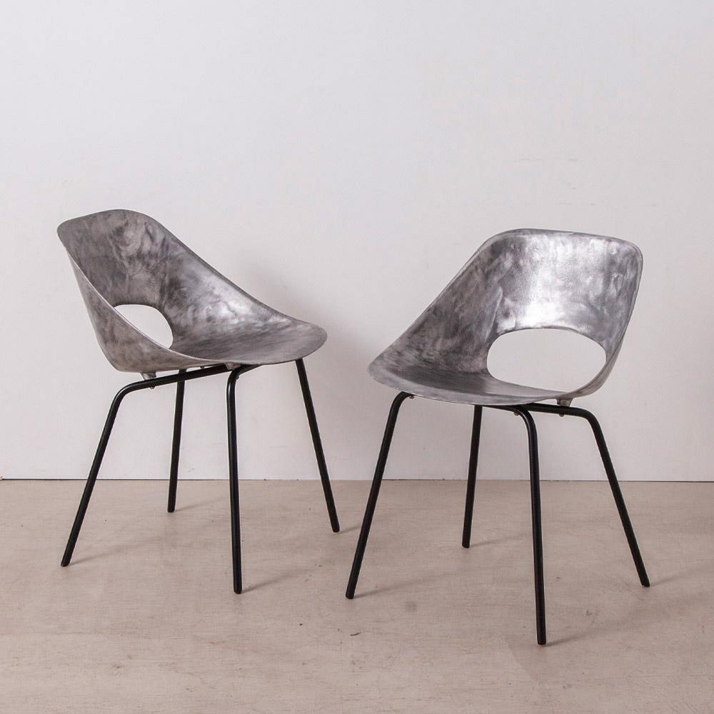Tulip Chair for Steiner in Aluminium and Steel by Pierre Guaariche