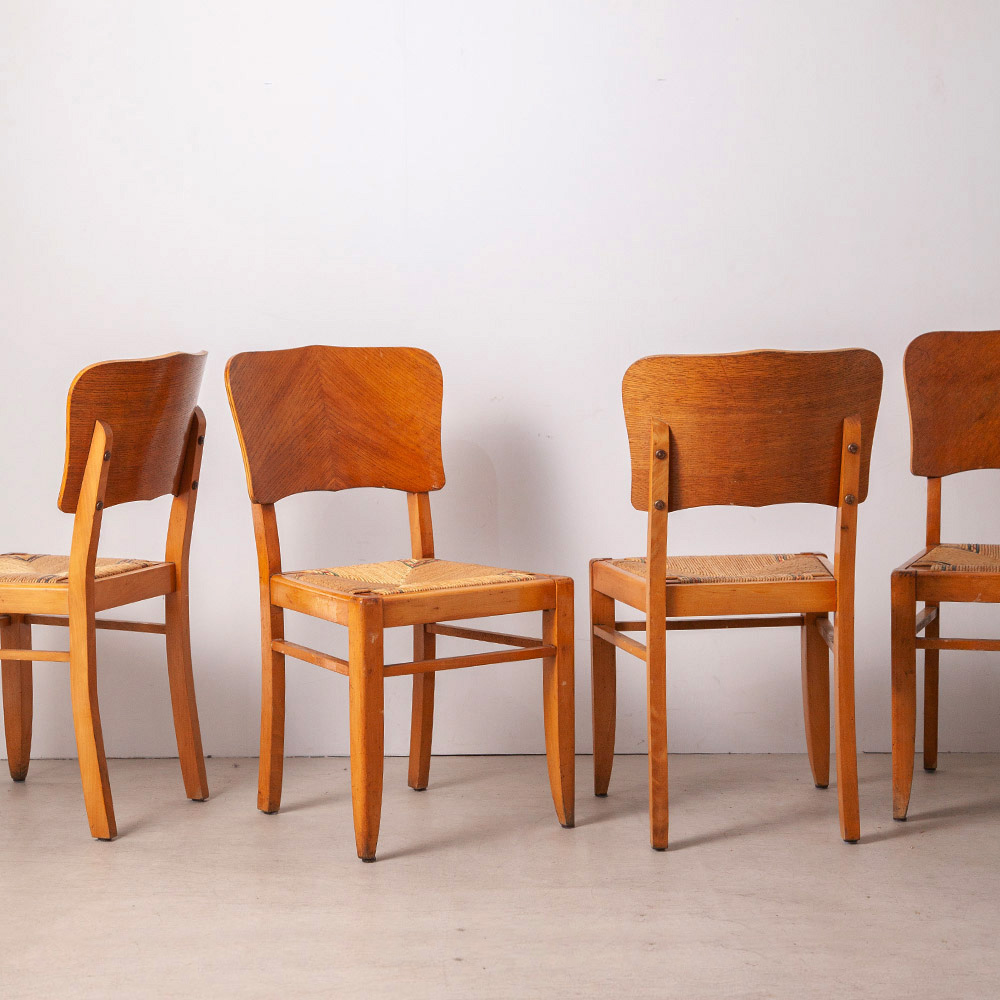 Dining Chairs in Oak and Cane by Pierre Cruège