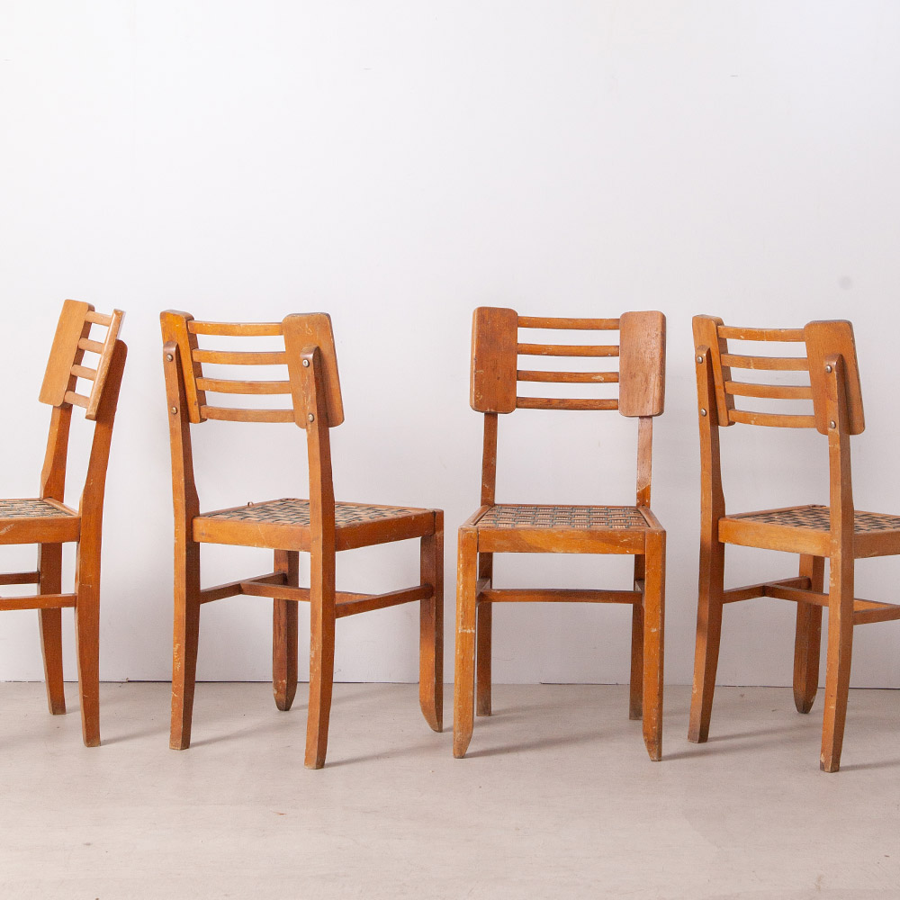 Dining Chairs in Wood and Rattan by Pierre Cruège