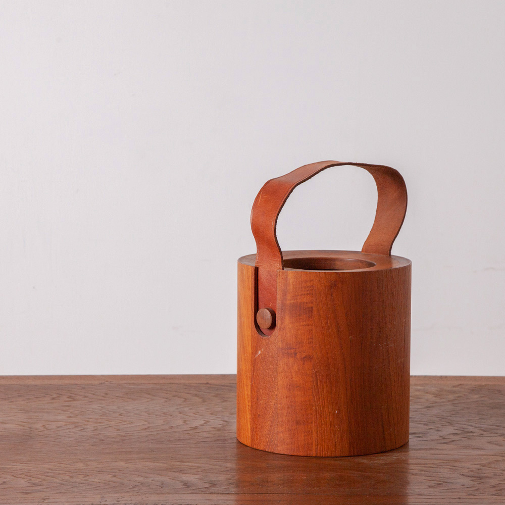 Wine Cooler in Teak and Leather for NISSEN