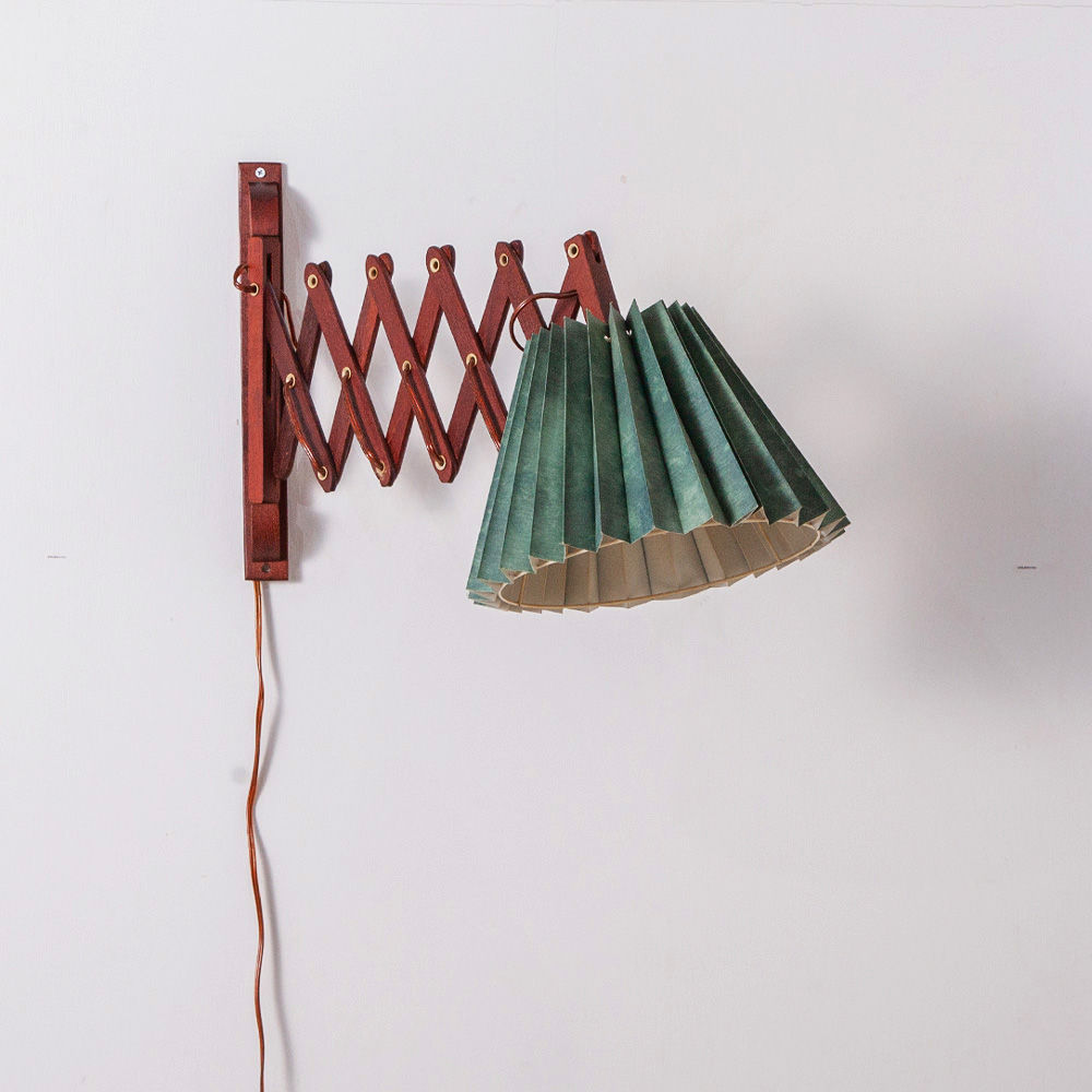 Danish Wall Light in Teak and Green Shade