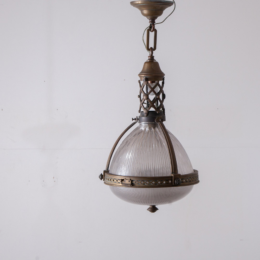 Huge Pendant Light in Glass and Brass for Holophane