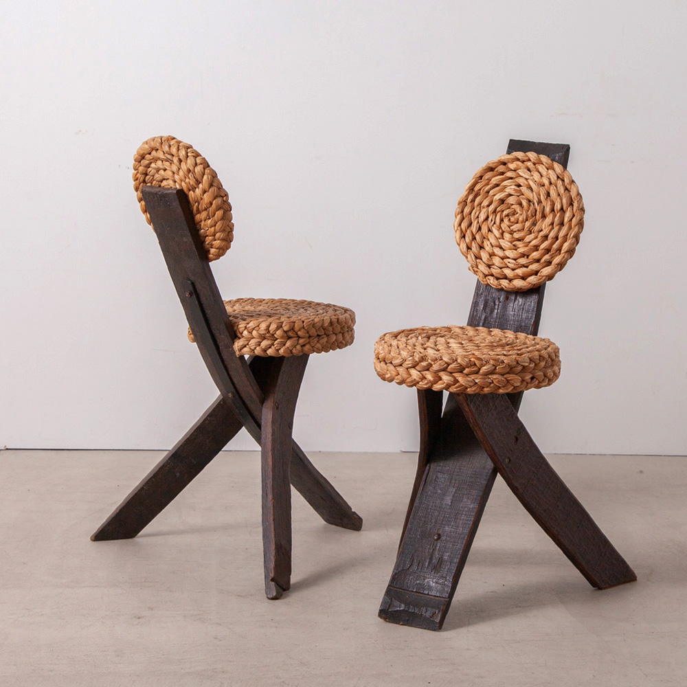 Occasional Chair in Wood and Rope by Audoux & Minet