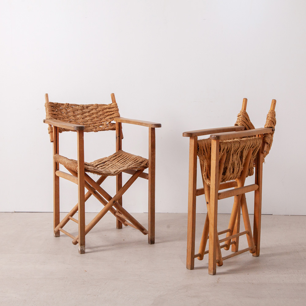 Vintage Folding Arm Chair in Rope and Wood フランスよりロープと木の組み合わせの美しいヴィンテージの折りたたみ式のチェア。