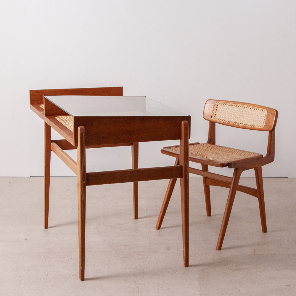 Desk and Chair Set in Mahogany, Glass and Yellow Cane by Roger Landault