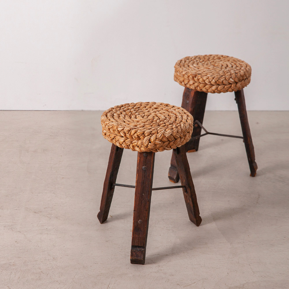 Occasional Stool in Wood and Rope by Audoux & Minet