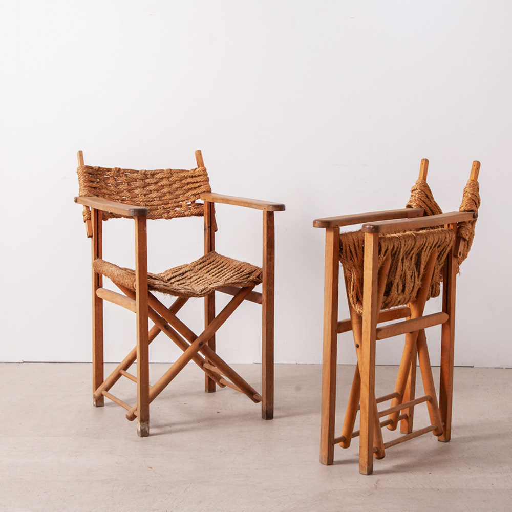 Vintage Folding Arm Chair in Rope and Wood