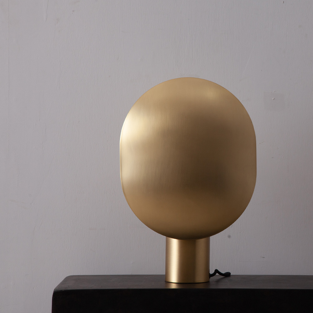 Oval Table Lamp in Gold and Metal