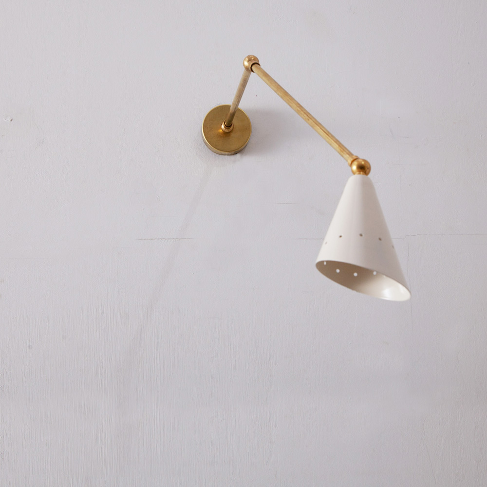 Adjustable Arm Wall Light in Brass and White