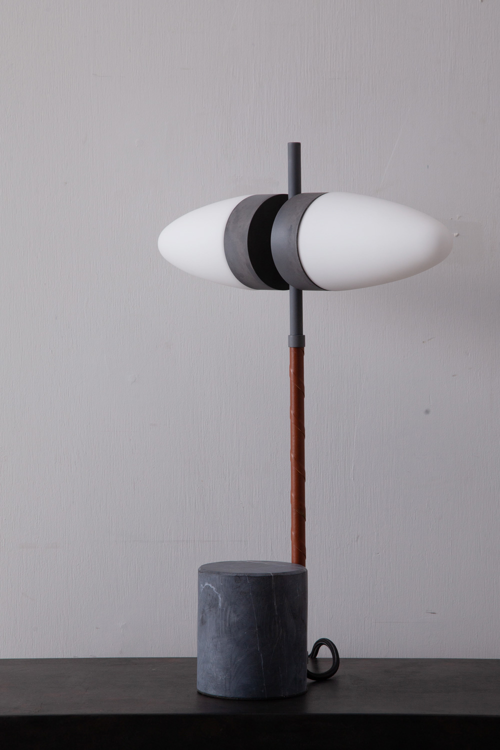 Dual Table Lamp in Alminium , Opal Glass , Leather and Marble