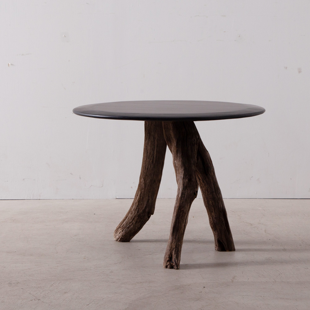 Driftwood Side Table in Black Top by Osamu Miura