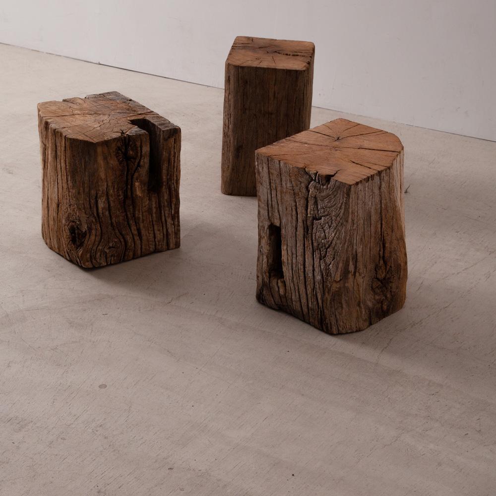Primitive Stump Stool in Wood