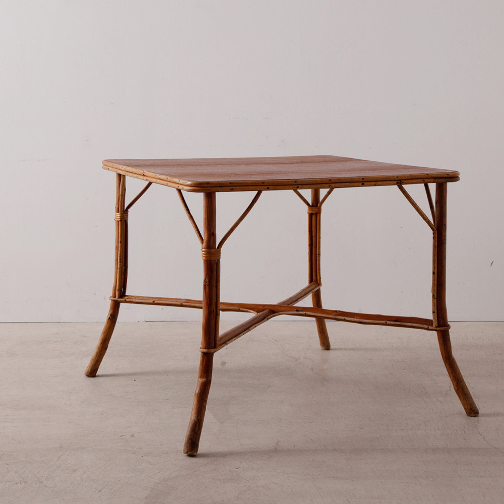 Vintage Square Table in Rattan