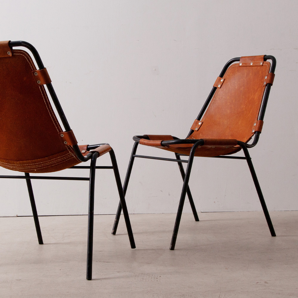 Les arcs Chair in Leather and Steel by Charlotte Perriand