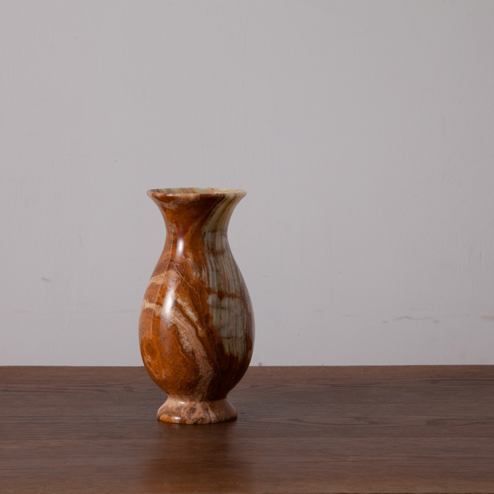 Flower Vase in Marble and Brown