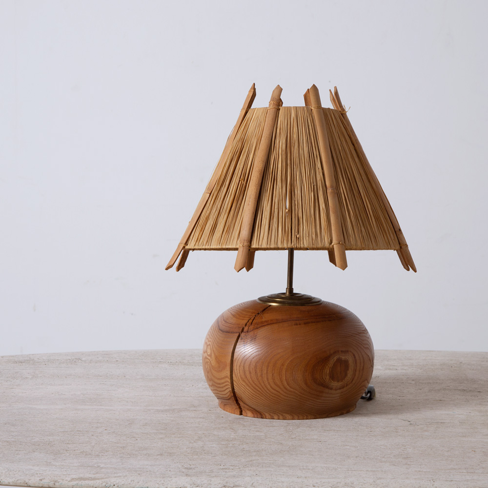 Vintage Table Lamp in Wood and Straw Shade