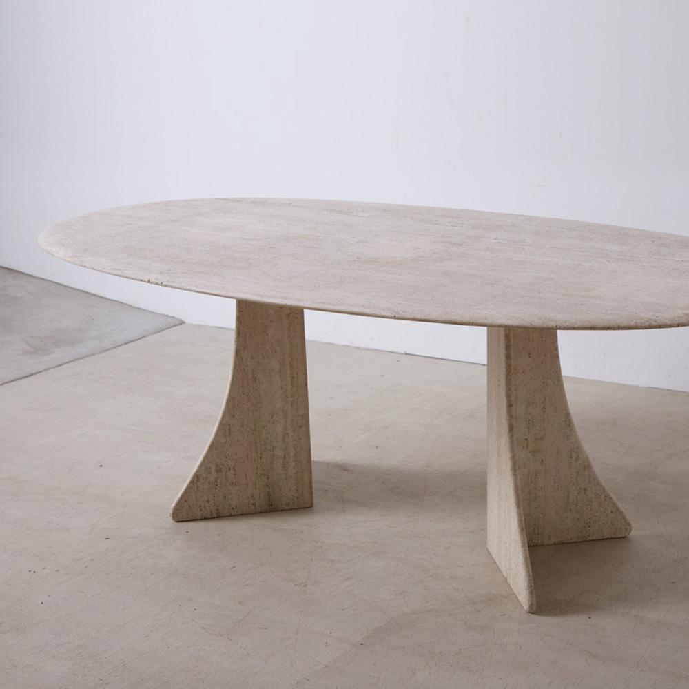 Italian Travertin Dining Table in White