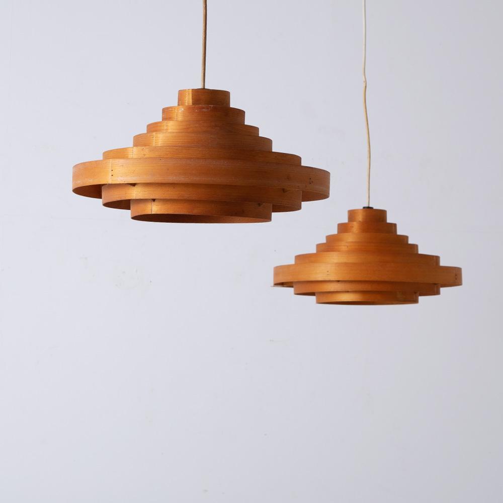 Vintage Pendant Light in Wood