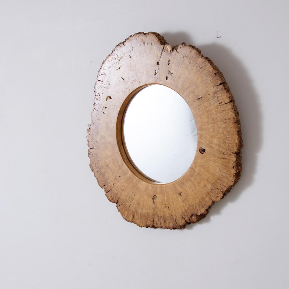 Vintage Round Wall Mirror in Wood