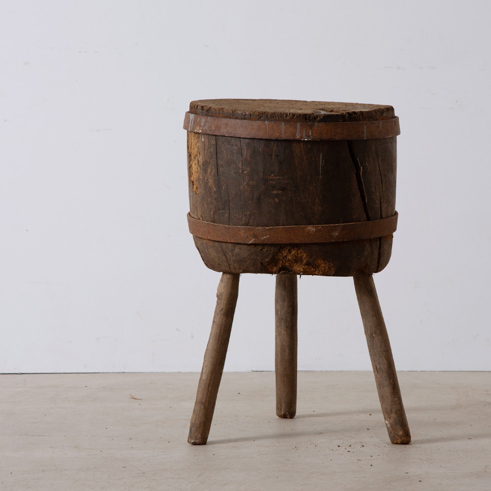 Antique Brutalist Side Table in Wood and Steel