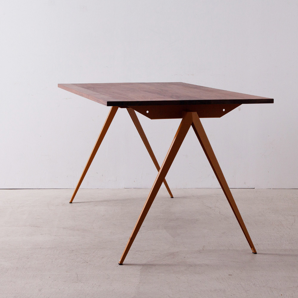 Model TD.4 Table in Ocher Brown and Walnut Top for GALVANITAS
