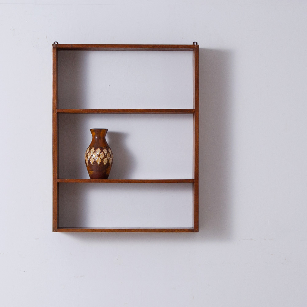 Vintage Wall Shelf in Wood and Brown