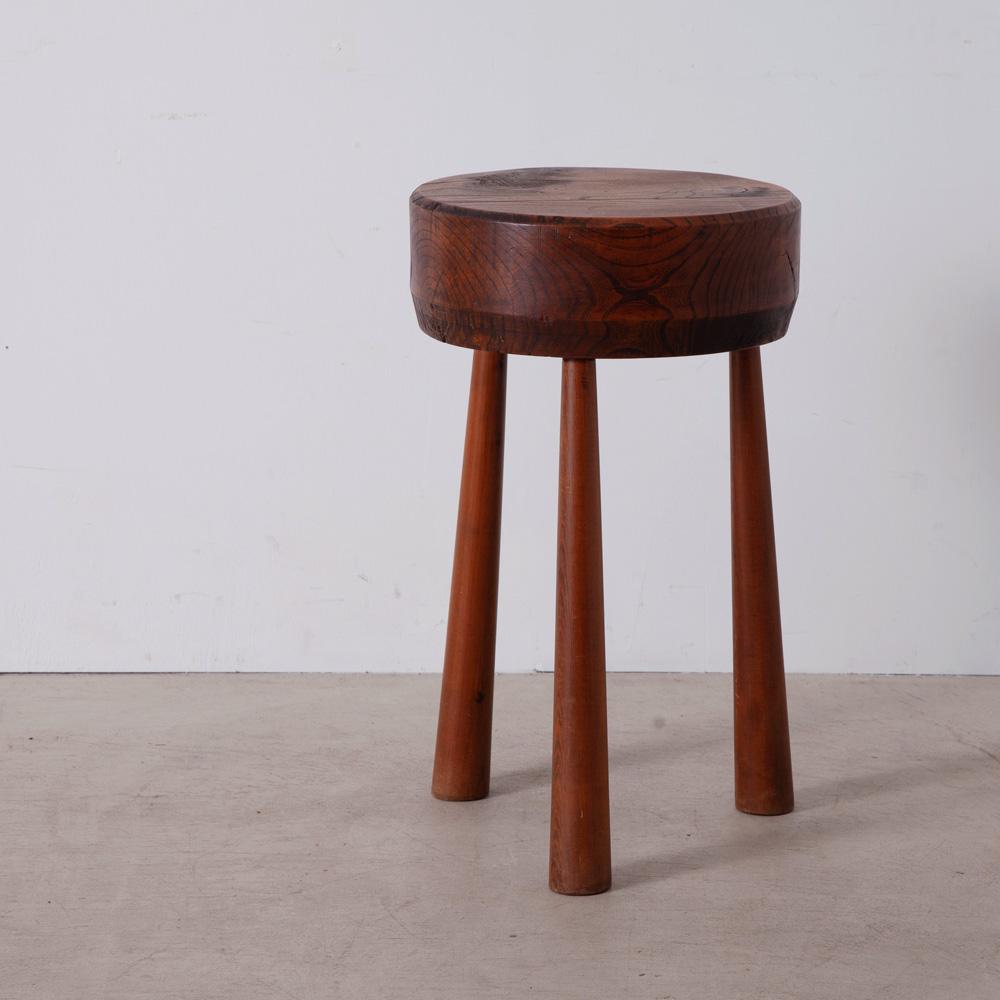 Brutalist Tripod Side Table in Wood