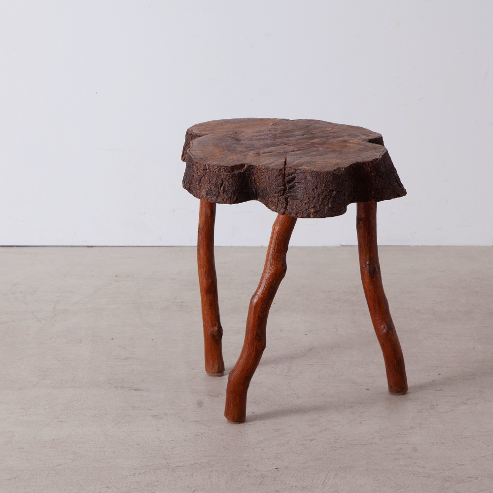 Brutalist Small Side Table in Wood