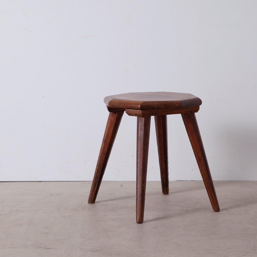 Vintage Octagonal Stool in Wood