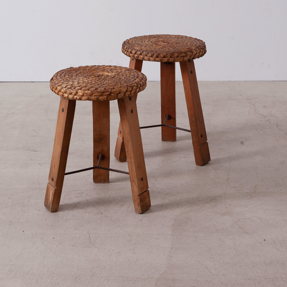 Audoux Minet Style Stool in Straw