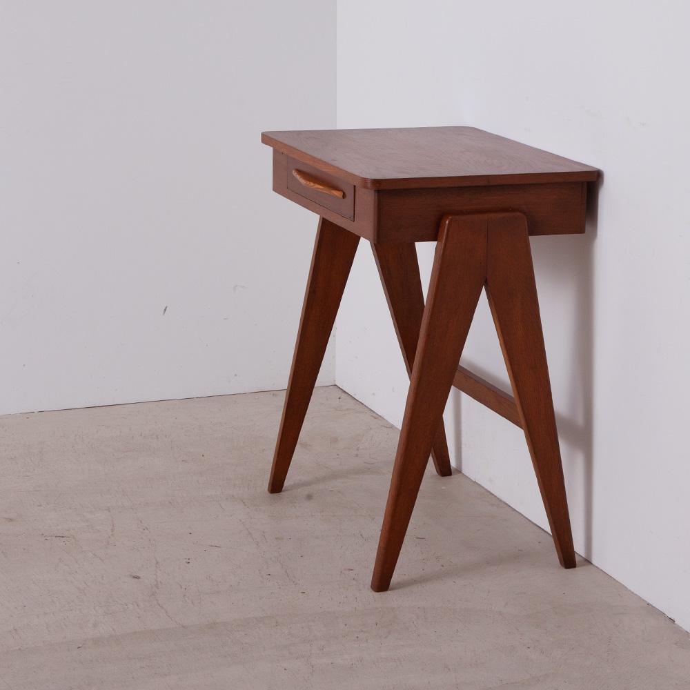 Vintage V Legs Desk with a Drawer in Teak