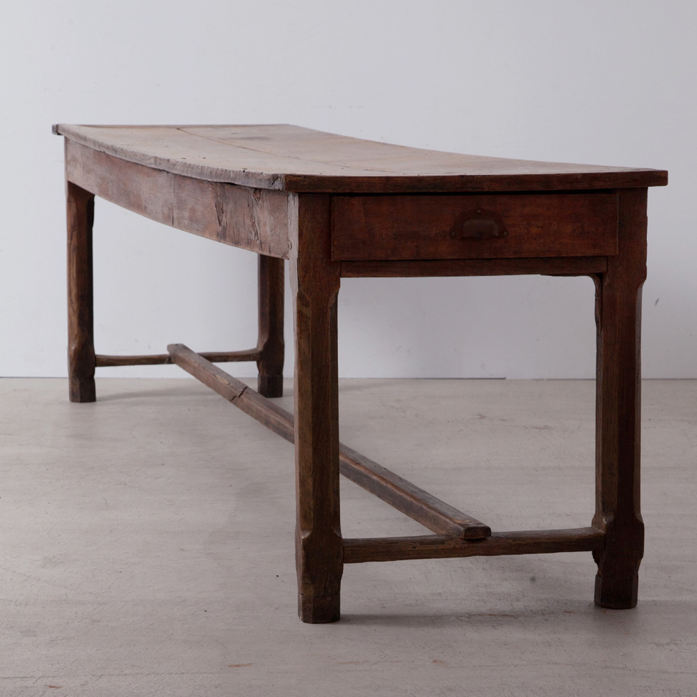 Antique Long Table with 2 Side Drawers in Oak