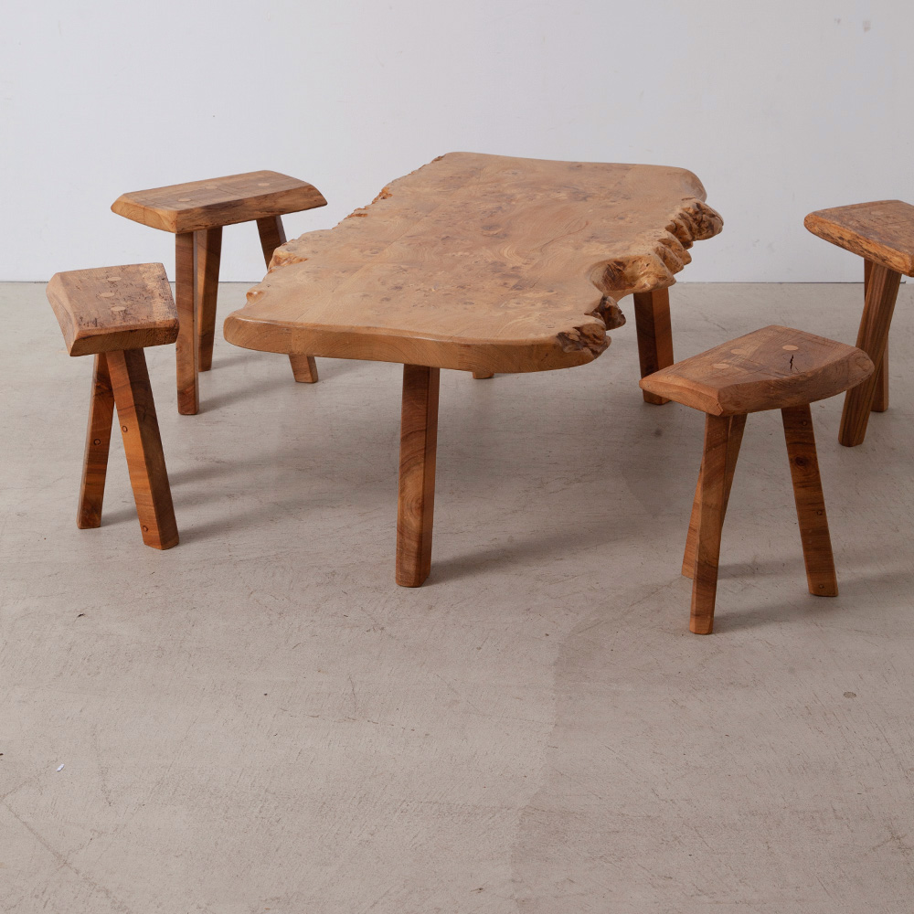 Massive Wood Low Table & 6 Stools Set