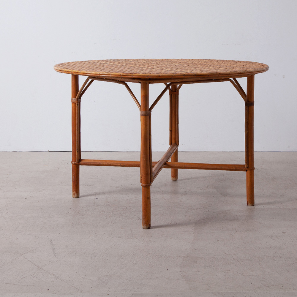 Round Dining Table in Rattan