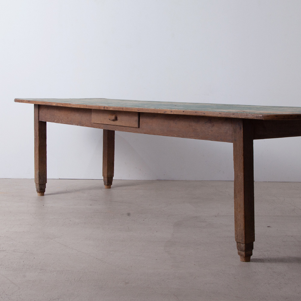 Antique Long Table with a Drawer in Oak & Blue top