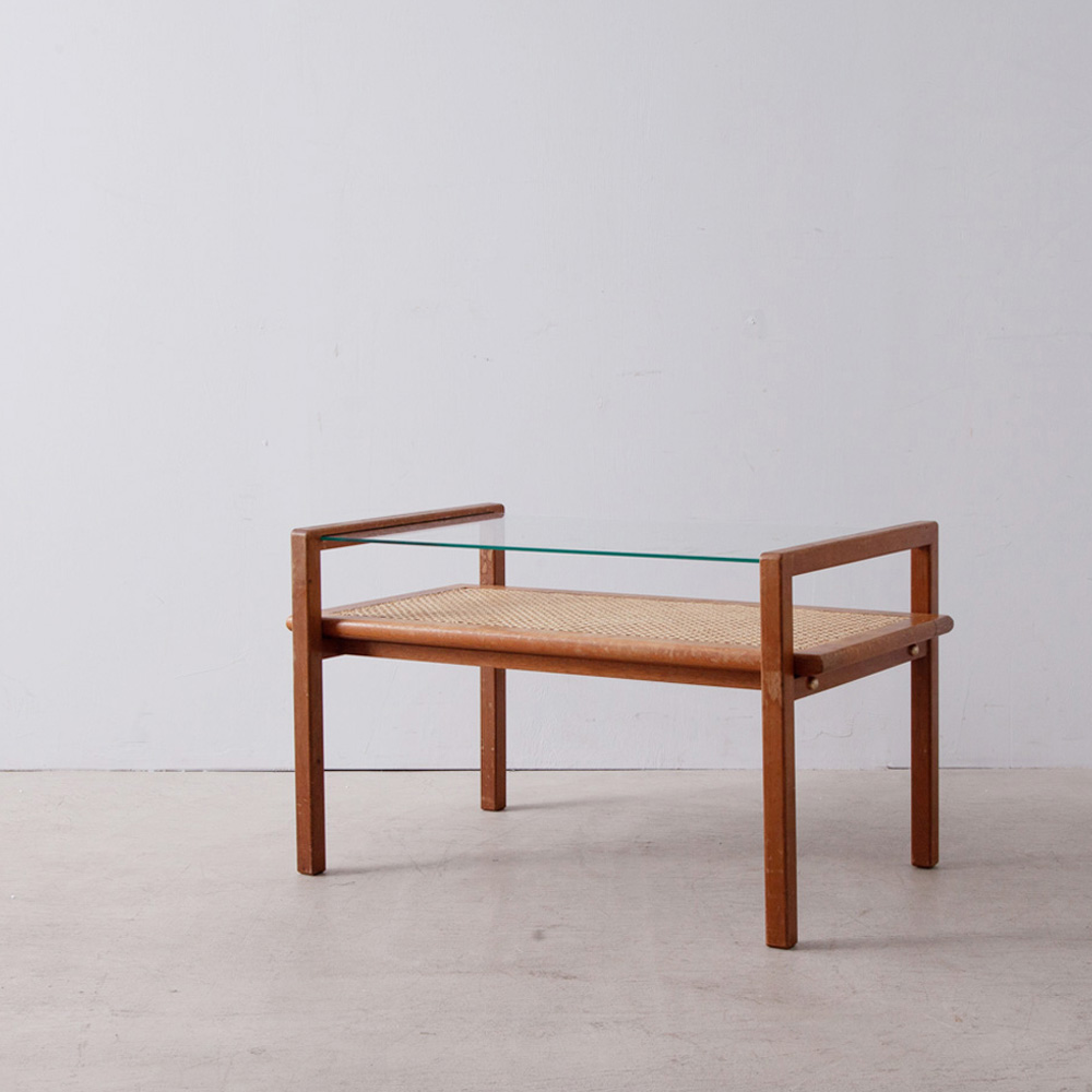 Coffee Table in Mahogany , Glass and Yellow Cane by Roger Landault
