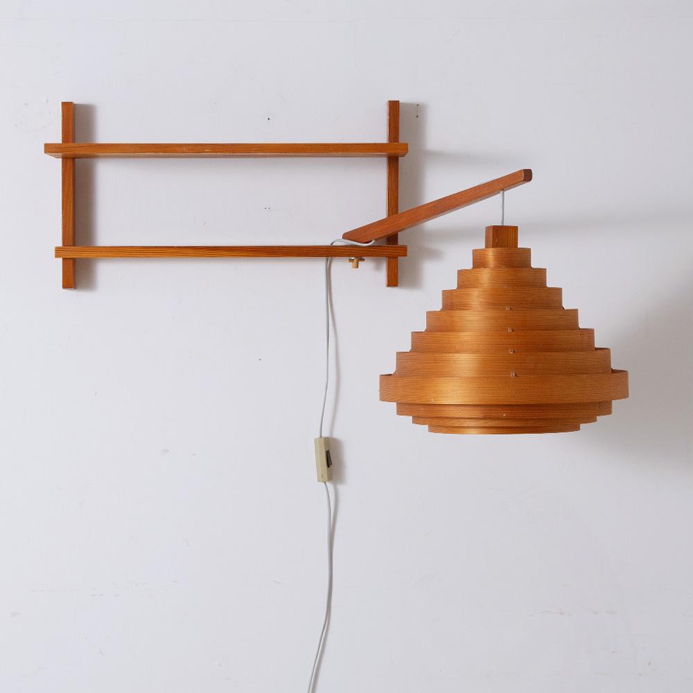 Wall Shelf & Swiveling Suspension Lamp in Wood
