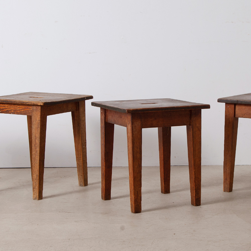 Square Work Stool in Wood