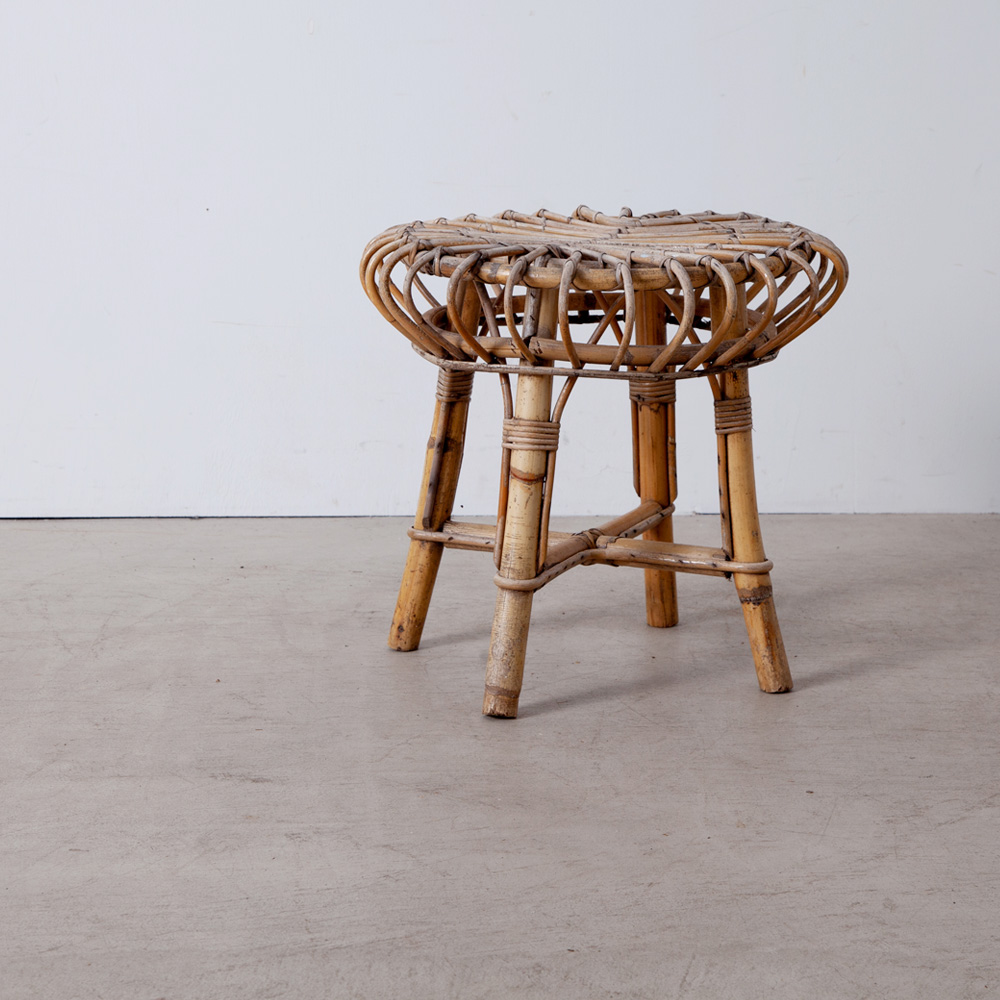 Vintage Jelly Fish Stool in Rattan