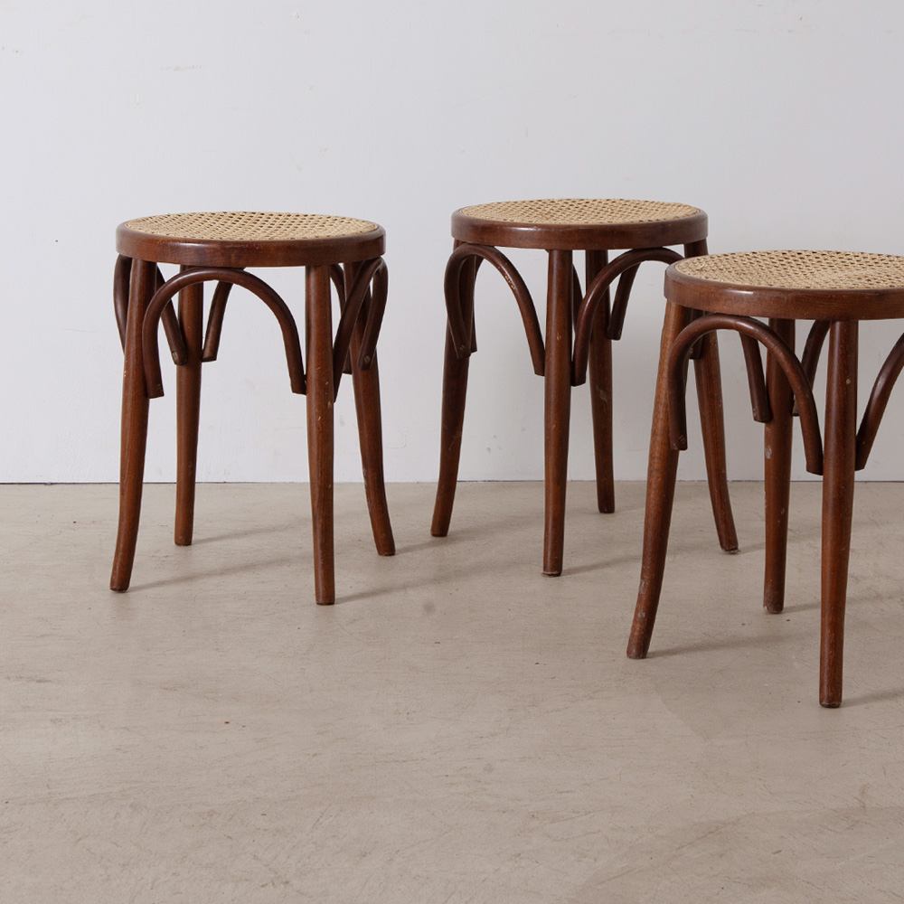 Bent Wood Stool in Rattan and Wood