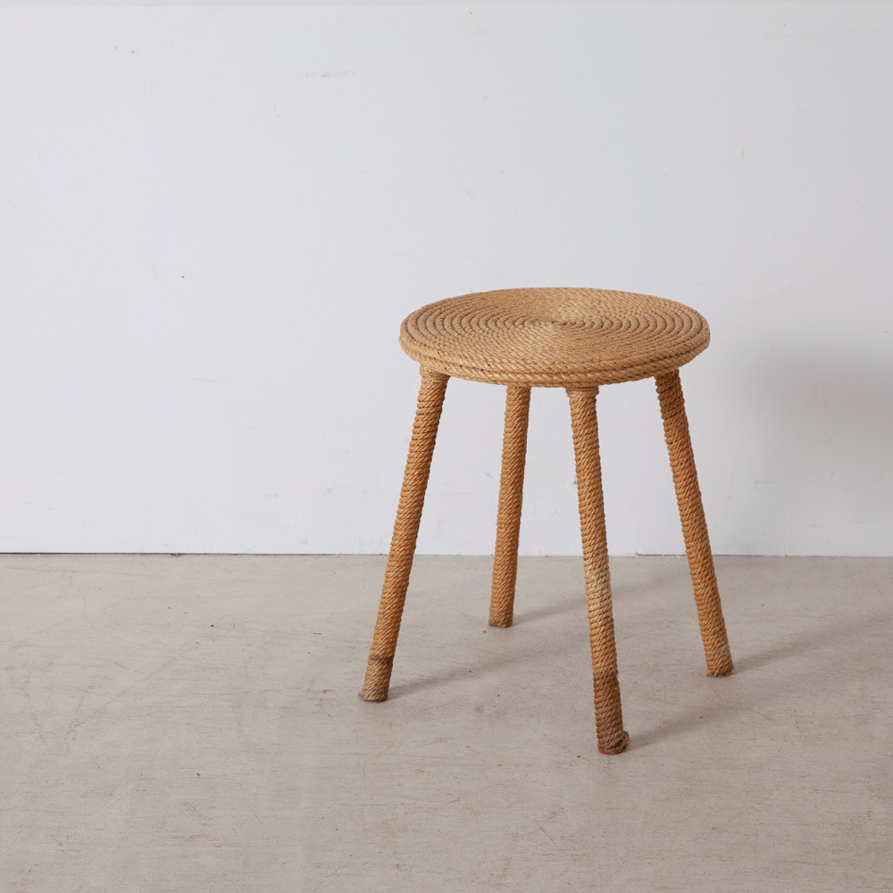 Vintage Stool in Rope by Auoux Minet