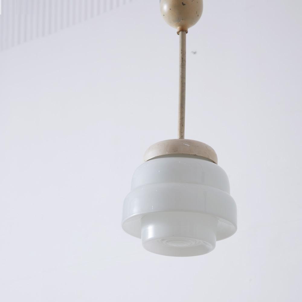 Vintage Glass Pendant Light in White
