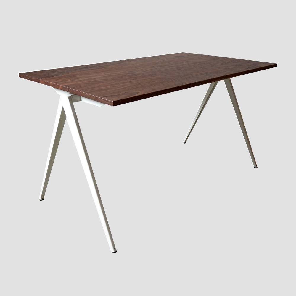 Model TD.4 Table in Ocher Brown and Walnut Top for GALVANITASWhite