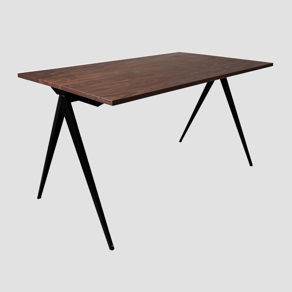 Model TD.4 Table in Ocher Brown and Walnut Top for GALVANITASBlack